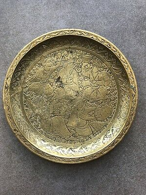 An Antique Indian Brass Carved Tray