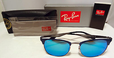 New Ray Ban Rb 3538 189 55 Clubmaster Blue Gunmetal Frame W/ Blue Mirror Lens