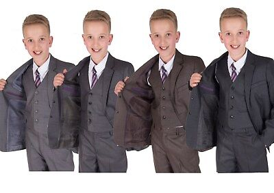 Boys Grey Suits 5 Piece Wedding Suit Page Boy Party Prom Suit 2-12 Years