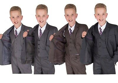 Cinda Grey 5 Piece Boy Suits Boys Wedding Suit Page Boy Party Prom 2-12 Years