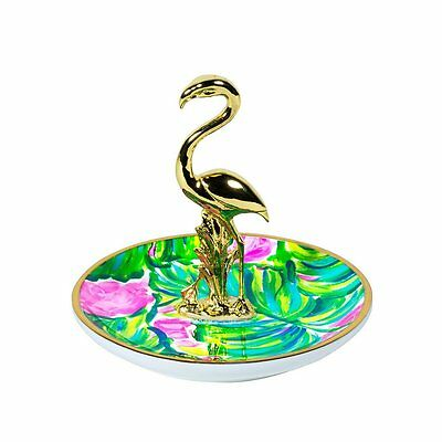 "Lilly Pulitzer - Ring Holder - Gold/Floral - ""Painted Palm"""