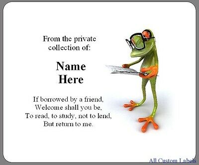 Custom Personalized Bookplates - 3D Reading Frog