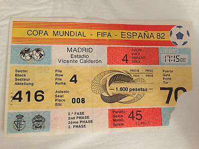 Entrada Ticket World Cup Spain 1982 Northern Ireland France Francia Match 45
