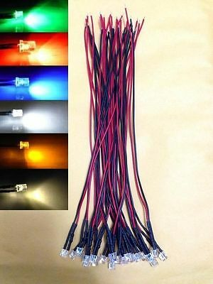 (60 PCS) 5mm Flat Top Mixed Colour wired LED 12V DC red white blue yellow green