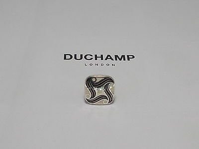 Sterling 925 Silver  =Spiral Black Tie/lapel Pin By Duchamp London =