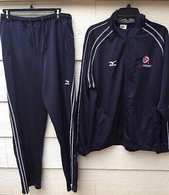 Mizuno Zip Jacket Pants Track Suit Blue USA Volleyball Official Sz Large