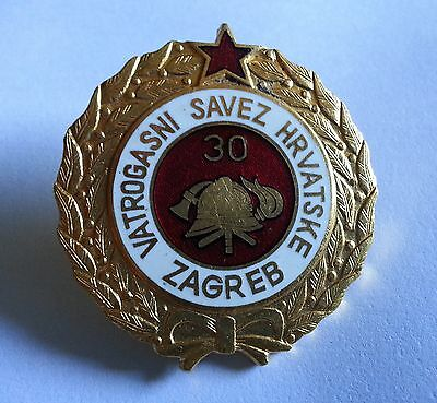 Firefigfters Badge Medal - CROATIA,ZAGREB,YUGOSLAVIA,30 Years....