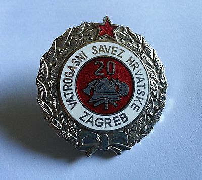 Firefigfters Badge Medal - CROATIA,ZAGREB,YUGOSLAVIA,20 Years....