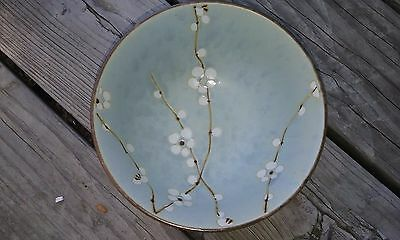 1 Japanese Sousaku Stoneware Bowl Blue With Cherry Blossoms