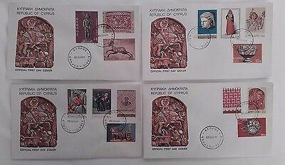 CYPRUS 1971 Historical Artifacts Official First Day Covers set of 4.14 stamps #2
