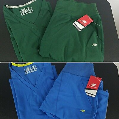 NEW BALANCE Women's Solid Green Blue Large Scrub Set Medical Apparel Polyester
