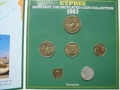 Cyprus 1983 UNC 6 coin set  1 - 20 cents in Royal Mint sealed pack