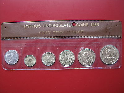 Cyprus 1983 6 coin set  1/2 - 20 cents good grade in clear sleeve