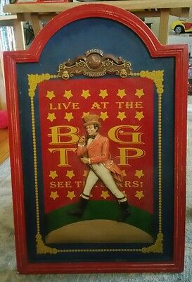 Vintage Circus Wood Picture Wall Hanging man standing CIRCUS EXTRAVAGANZA