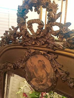 Gorgeous Antique Louis Xvi French  Gilded, Gilt Mirror,  Carved Ribbons & Roses