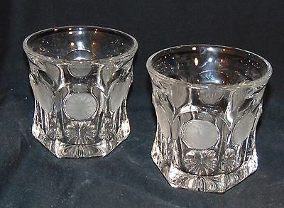 "2 Fostoria COIN FROSTED CRYSTAL *3 5/8"" 9 oz OLD FASHIONED TUMBLERS*1372/81*"