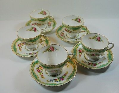 5 Vintage Foley 'Windsor' Coffee Cups and Saucers Bone China 10 Piece Set 1940's