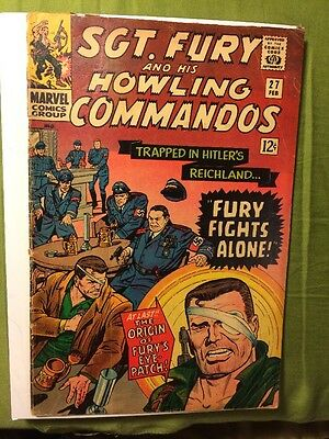 Sgt Fury Howling Commandos # 27 VG 1965 Trapped In Hitler's Reichland Stan Lee