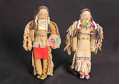 "PAIR of Sioux Beaded Dolls 9.5"", mid 20th c, mint condition, native tanned hide"