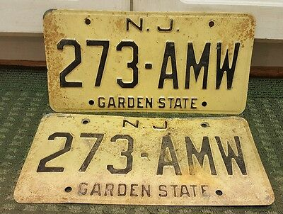 Vintage Pair New Jersey Car Auto License Plate Tags NJ Yellow Base 273 AMW