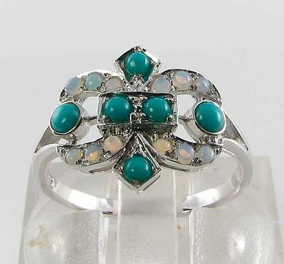 Divine 9Ct White Gold Persian Turquoise & Opal Art Deco Ins Ring Free Resize