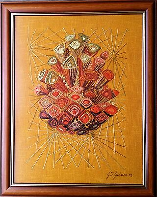 Vintage Retro Abstract Tapestry Needlepoint Wall Art Hanging 1977 Glass & Framed
