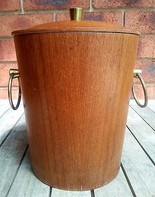 Vintage Retro Wooden Wood Ice Bucket Teak Veneer Aluminum Lining Ring Handles