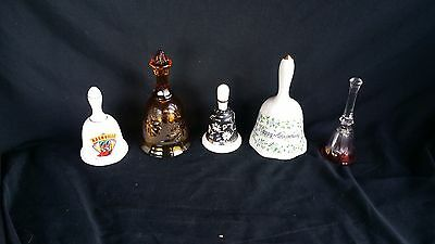 Lot of 5 mixed Cut Crystal Cut Glass Ceramic Bells white amber black red