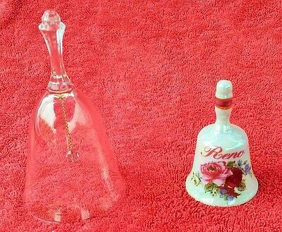 Lot of 2 Vintage Bells Reno and Avon 24% Full Lead Crystal Bell  home decor