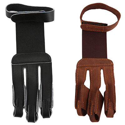 Archery Protect Glove 3 Fingers Pull Bow arrow Leather Shooting Gloves AU