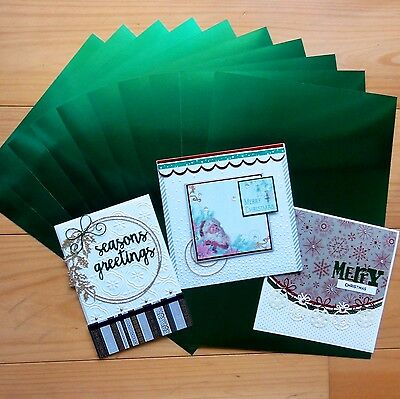 "GREEN FOIL MIRROR CARD BOARD A4 275GSM x 10 SHEETS ""SPECIAL PRICE"" - NEW"