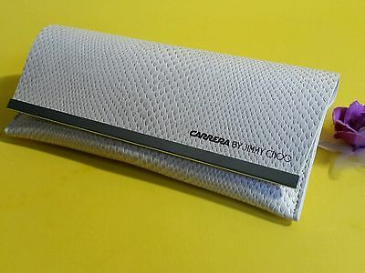 New CARRERA BY JIMMY CHOO Silver Cream Snakeskin Animal Sunglasses Case NoCloth