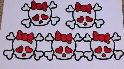 Dealers Wholesale Lot Of 5 Red and White Bow Skull Craft Patches
