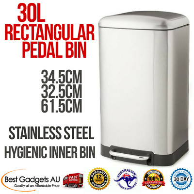 Stainless Steel Pedal Kitchen Bin 30L Soft Close Lid