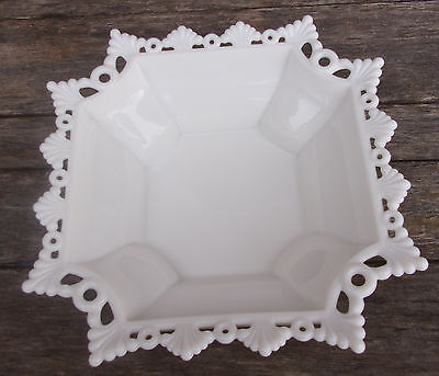 """WESTMORELAND White Lace MILK GLASS Dish 10"""" by 10"""""""