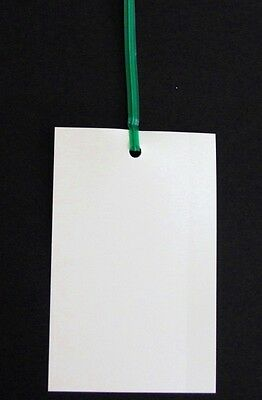 100 BLANK WHITE PLASTIC TAGS - PLANT LABELS - INDUSTRIAL TIE-ON TAGS (90 X 62mm)