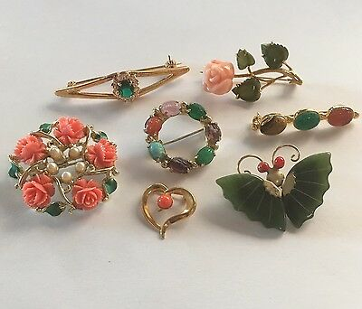 Lot Of 5 Women's Vintage - Modern Brooches Pins Variety Gold Tone Nice