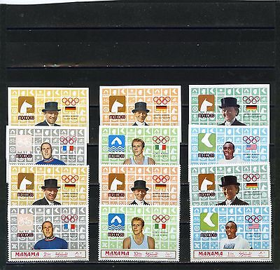 Manama 1969 Summer Olympic Games Mexico/gold Medals 2 Sets Of 6 Stamps Mnh