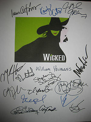 Wicked Signed Broadway Musical Script X16 Kristin Chenoweth Idina Menzel reprint