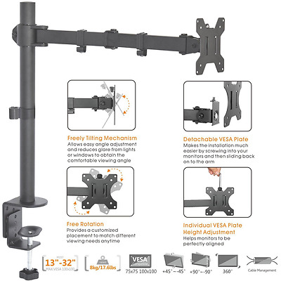 Duramex (Tm) Economy Single Monitor Arm Fully Adjustable Desk Mount / Articulati