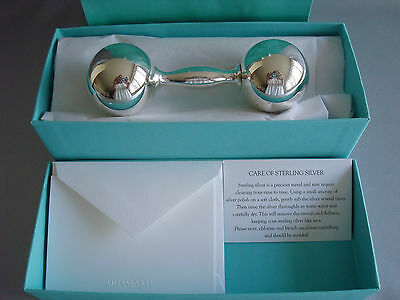 "TIFFANY sterling silver ~ NEW IN BOX~ BABY BARBELL RATTLE 4 1/2"" box,card,bag"