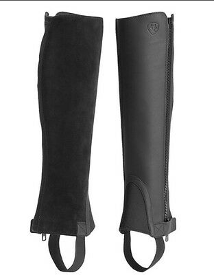 """Ariat Kids Unisex Scout Chap Leather Half Chaps S Small Black 11.5"""" Tall"""