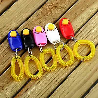 1*Dog Pet Click Clicker Training Obedience Agility Trainer Aid Wrist Strap New