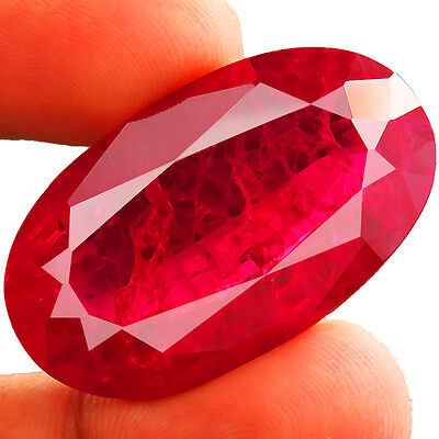 68.70ct BIG RARE Lab created pigeon blood RUBY CHATHUM Induce Inclusion 20.5x35