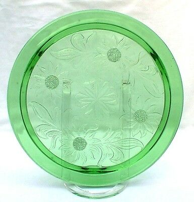Daisy Sunflower Cake Plate Stand Green Depression Glass Three Legs EXCELLENT