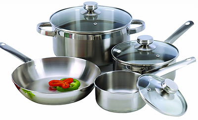ExcelSteel 7-Piece 18/10 Stainless Steel Cookware with Encapsulated Base