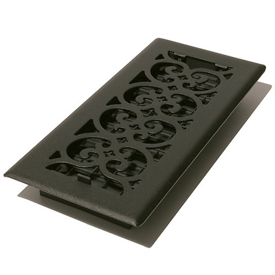 Decor Grates ST212 2-Inch by 12-Inch Scroll Floor Register, Textured Black