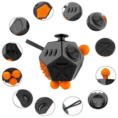 Fidget Cube 12 Side Sided Desk Toy Stress Anxiety Relief Focus Puzzle Crazy Toy