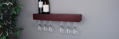 nexxt Pinot Wine Glass Rack, 24 By 3 By 5-Inch, Holds 6 Glasses, Espresso