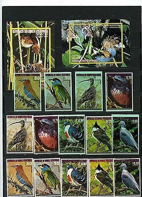 Equatorial Guinea Birds Of Asia 2 Sets Of 7 Stamps & 2 S/s Perf.& Imperf.mnh